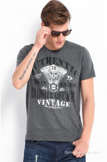Roadster Men Charcoal Grey Printed T-shirt