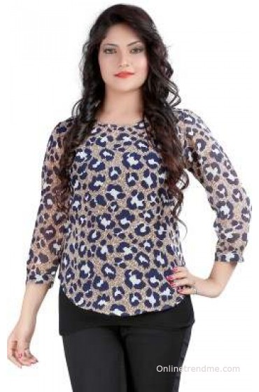 Ossi Casual 3/4 Sleeve Animal Print Women's Top