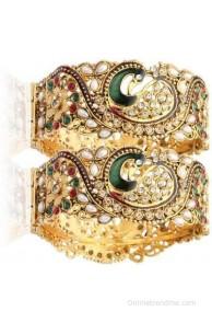 Ethnic Jewels Alloy White Gold Bangle Set