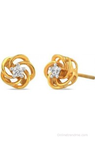 Araanz by Tribhovandas Bhimji Zaveri Delhi Twisted Affairy 18 K Diamond Gold Stud Earring