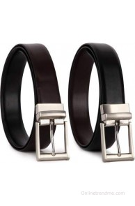 Bluth Men Formal Black Artificial Leather Reversible Belt(Black, Brown)