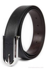 Chisel Men Formal Black Genuine Leather Reversible Belt(Black)