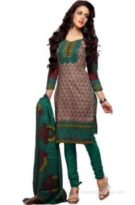 Florence Cotton Polyester Blend Printed Salwar Suit Dupatta Material(Un-stitched)