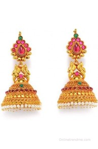 Alankruthi Royal Tradional Antique Golden Stone Studded Handmade Spinel Copper Jhumki Earring