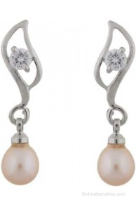 Classique Designer Jewellery Leaf Shape Pearl Alloy Drop Earring