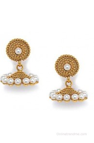Alankruthi Pearl/Stone Studded Royal Antique K Copper Jhumki Earring