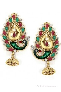 Bindhani Traditional Diya Cubic Zirconia Alloy Jhumki Earring