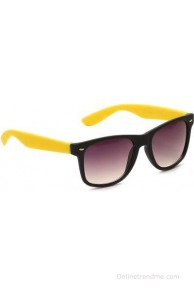 Camerii Wayfarer Black & Yellow Rectangular Sunglasses